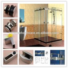 Recintos de hardware de ducha deslizante sin marco de 90 grados para puerta de ducha doble de ángulo recto