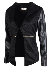 New Fashion Female Patchwork Turn-Down Collar Long Sleeve Faux Leather Jacket