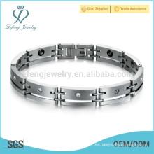Pulsera caliente de la aptitud de la venta, pulsera modificada para requisitos particulares, pulsera de plata