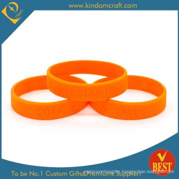 Custom Wholesale Orange Debossed Tennis Silicone Wristband (LN-018)