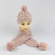 Kids Baby Unisex Children Boys Girls 2PC Winter Cable 2 Set Twist Beanie Scarf Hat Set Scarf (SK413S)