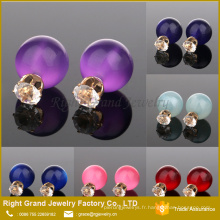 Boucles d'oreilles bon marché de cristal de boule de 12mm et de perle double