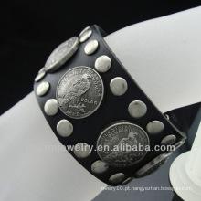 O novo couro genuíno do projeto da venda quente mergulhou do bracelete BGL-005 do símbolo da paz