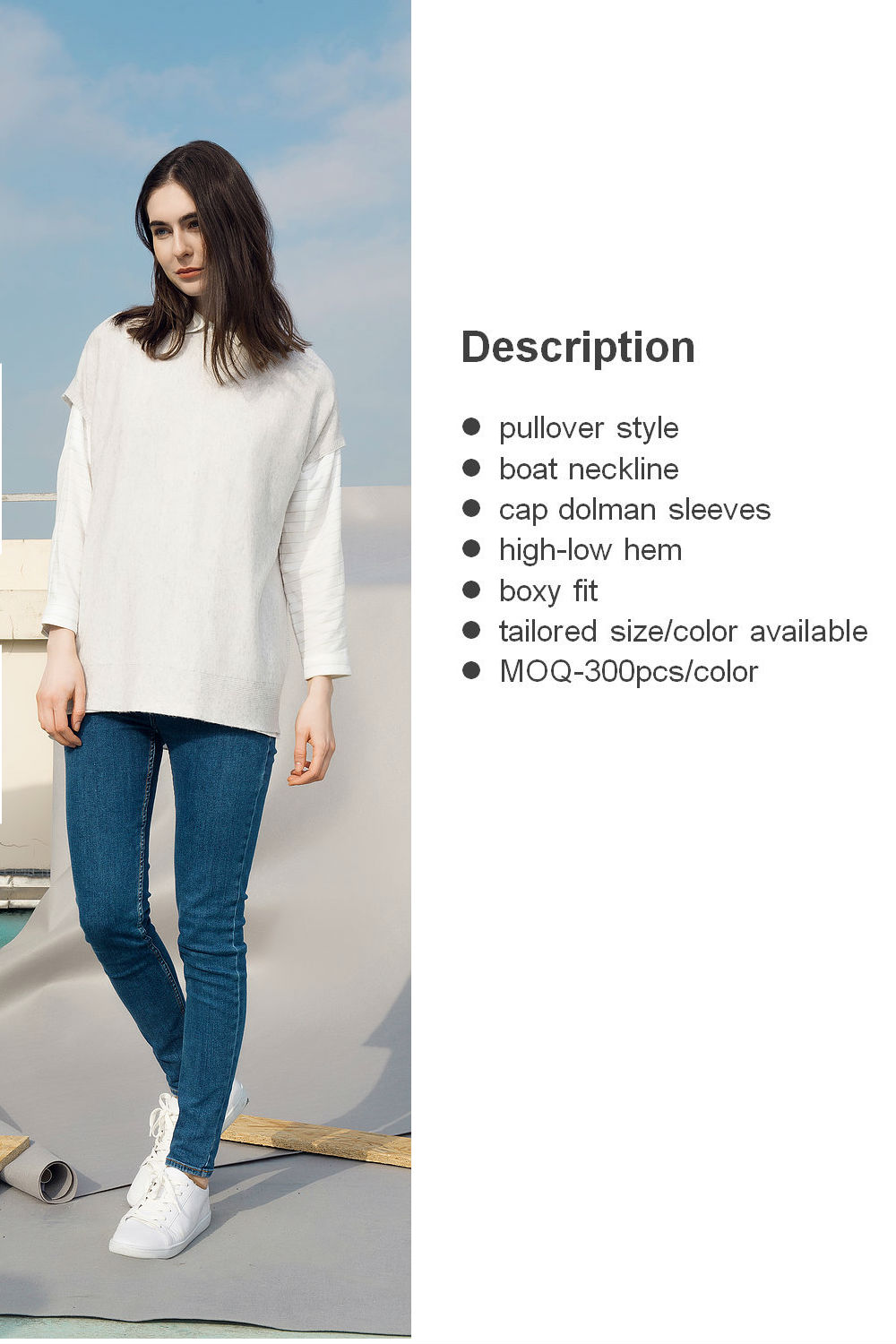 glacier short dolman sleeve sweater front