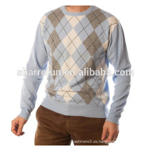 Precio de fábrica de intarsia estilo argyle 100% puro suéter de cachemira, prendas de punto de cachemira