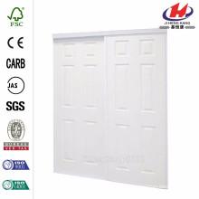 72 po x 81 po. Panneaux en panneaux de panneaux finitionaux blancs coloniaux Porte coulissante intérieure encadrée en acier