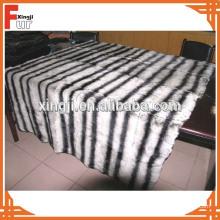 Alta Qualidade Prined Cor Rex Rabbit Fur Throw Chinchilla Design