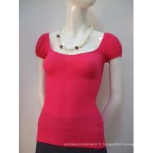 Diamant transparente manches courtes T Shirts de mode pour dames