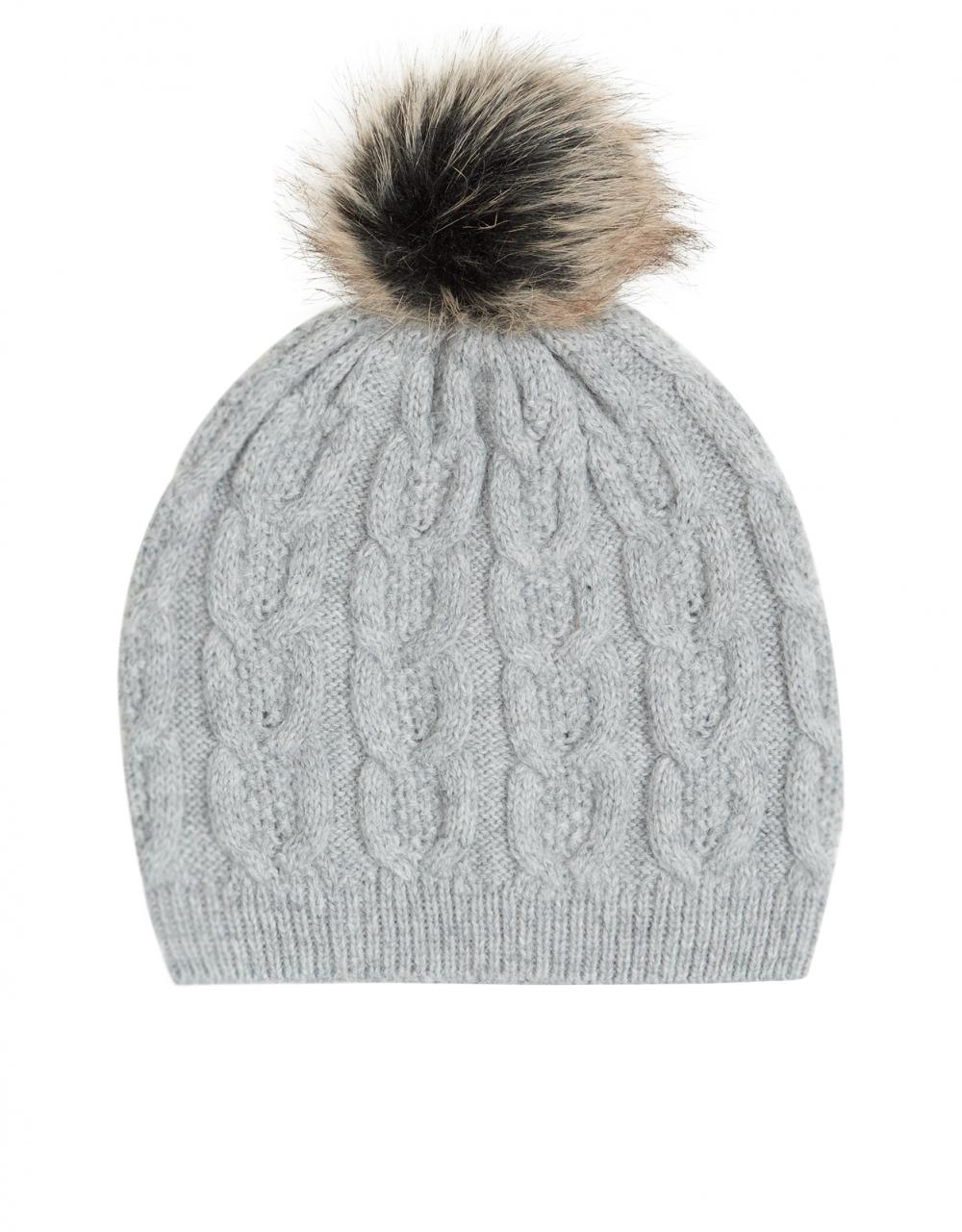 Kensington Cable Fur Pom Beanie Grey