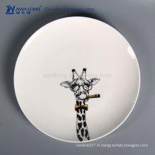 Peinture à la main Giraffe Picture Wholesale Plateau à pain en vrac, vaisselle en céramique pour camping