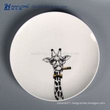 Hand Painting Giraffe Picture Wholesale Bulk Dinner Plate, Ceramic Camping Tableware
