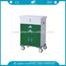 AG-GS004 Dark Green Series Powercoating Lock Doors Medicine Trolley