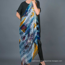 Écharpe carrée imprimée à la main, 100% soie