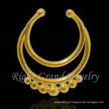 Oro falso no Piercing nariz aro nariz tribales anillo falso Piercing de la nariz