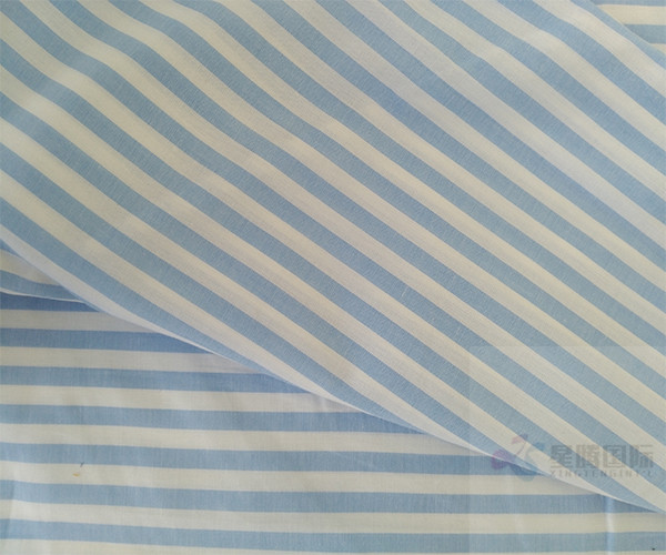 Striped blue and white Yarn Dyed Cotton Fabric3