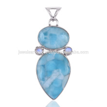 Beautiful Larimar & Rainbow Moonstone with 925 Sterling Silver Pendant for all Occasions