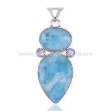 Красивый Ларимар & Радужный Лунный камень с 925 стерлингового серебра Кулон на все случаи жизни