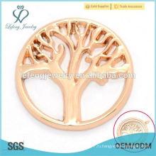 Хорошее качество 22мм розового золота выбито металлическим деревом из жизни пластин ювелирные изделия для стеклянных карт памяти плавающие медали медальон