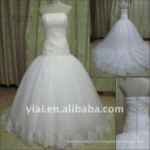 JJ2533 El envío más nuevo de la gota más nueva del envío libre rebordeó el vestido de boda del vestido de bola del cordón 2011