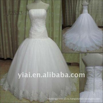 JJ2533 Новый Бесплатная доставка груза падения бисером кружева бальное платье свадебное платье 2011