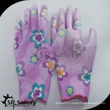 SRSAFETY 13G красочные печатные PU садовые перчатки / садовые рабочие перчатки