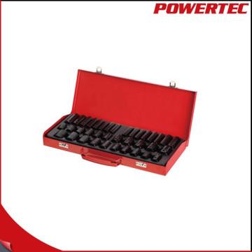 "Powertec 38PC 1/2 ""Dr. y 3/8"" Dr. Impact Socket Wrench Set"
