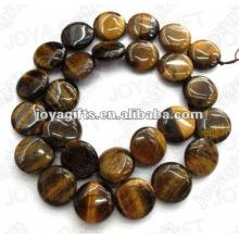 Los granos de piedra de la moneda del tigereye de los 15MM