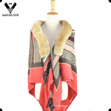 Fashion Soft Acrylic Printed Pattern Fur Collar Lady Shawl
