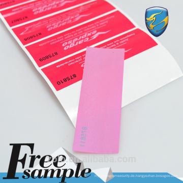 Kundenspezifisches Druckpapier-Sicherheitsetikett für Fast-Food-Verpackungen