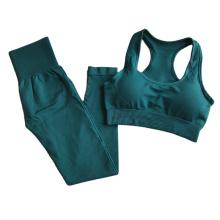 High Waist Seamless Women Yoga Pants 2 piece set Tights Sportwear Leggings for Fitness shorts crop top Clothing Running