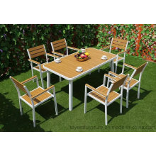 Novo conjunto de móveis de jantar de jardim moderno moderno ao ar livre, cadeiras de alumínio em pó e revestidas de pátio