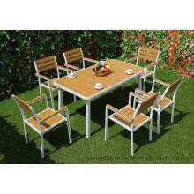 Новые европейские современные наружные садовые столовые гарнитуры из алюминиевого порошка с покрытием и стулья для патио