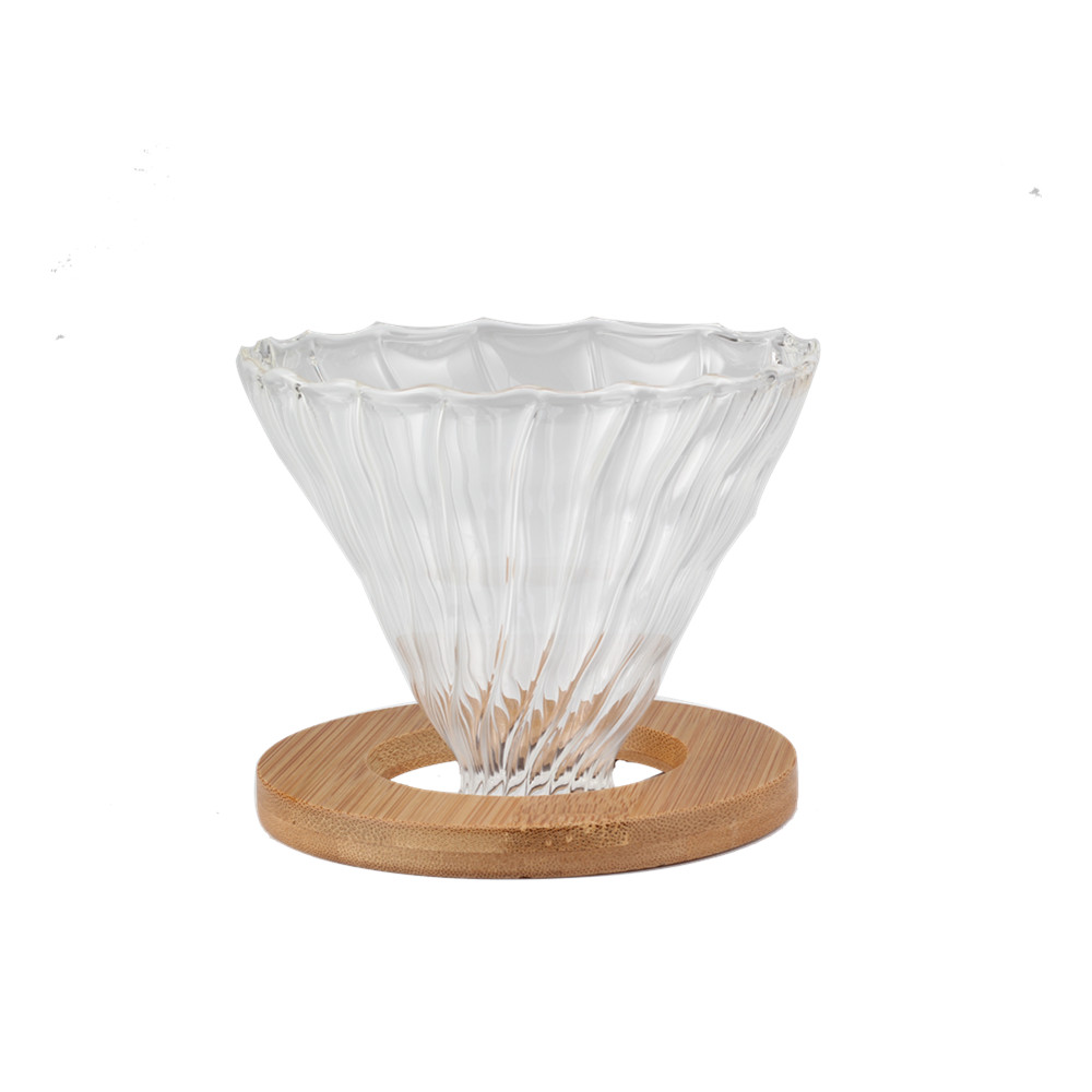 Glass Coffee Dripper With Wooden Base