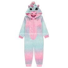 Rainbow unicorn embroidery fleece onesie