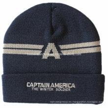 El logotipo personalizado bordó el negro se divierte el sombrero de acrílico hecho punto de la gorrita tejida del doblez de la snowboard