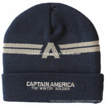 Logotipo personalizado bordado preto esportes Snowboard acrílico malha Fold Beanie Hat