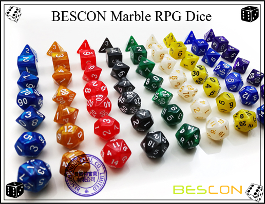 BESCON Marble RPG Dice Set