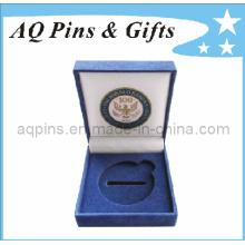 Bule caja de moneda de terciopelo personalizada con logotipo