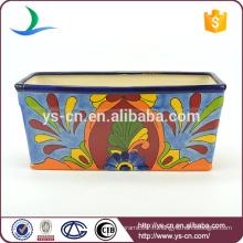 YSfp0003 Flowerpot en céramique rectangulaire coloré à la main pour jardin
