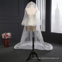 Lindos véus de casamento lisos longos para mulheres
