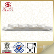 Keramische geteilte Platte der hohen Qualität, weiße Soßenplatte