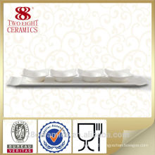 High quality ceramic divided plate, white sauce plate