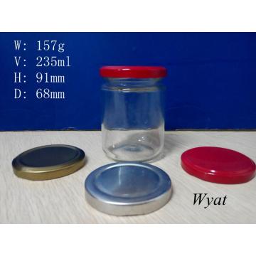 240ml 8oz Glass Pickle Jar Glass Food Storage Jar with Metal Lid