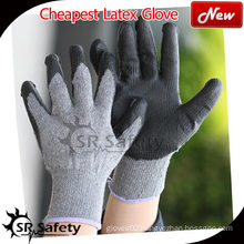 SRSAFETY 10 gauge polycotton liner coated latex on palm,crinkle finish/latex coated work gloves/grey latex work gloves