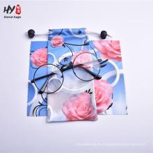 Bolsa de cierre con cordón suave de microfibra con impresión personalizada