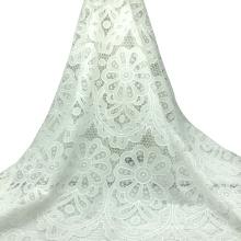 Vestido de renda branca de algodão bordado em tecido de renda 120cm