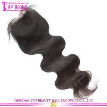 Top beleza cabelo por atacado do cabelo da Malásia fechamentos preço barato corpo da Malásia onda encerramento Lace Remy fechamento dianteiro com cabelo do bebê