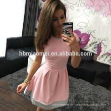 2017 en stock Nuevo verano de múltiples colores de costura de manga corta vestido de falda corta mujeres damas