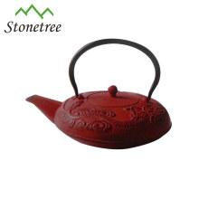 Bouilloire à thé émaillée en fonte rouge