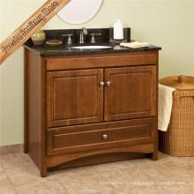 Design classique en bois massif Vanité en cabinet de salle de bain